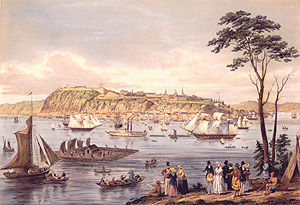 View of Quebec. Engraving by Benjamin Beaufoy. (Courtesy of the National Archives of Canada)
